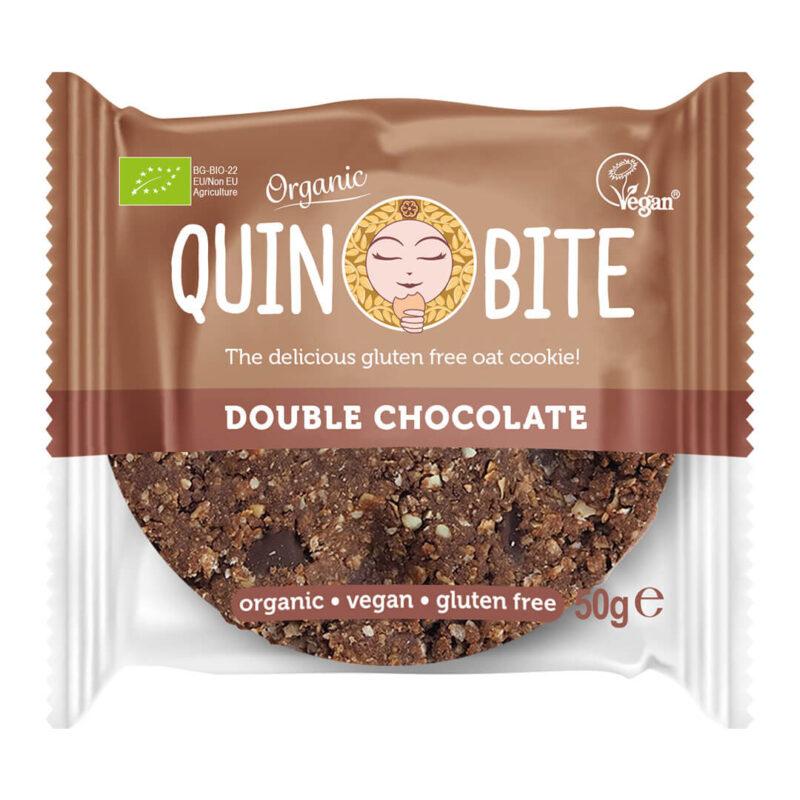 Био безглутенова курабийка QUIN BITE Двоен шоколад 50 г. (веган)