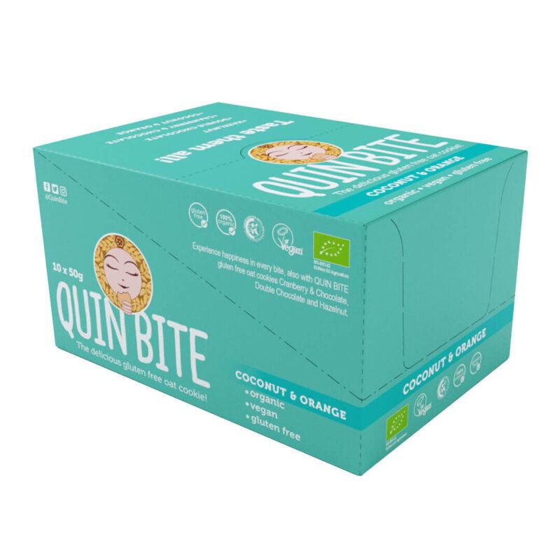 Кутия био безглутенови курабийки QUIN BITE Кокос и портокал 10 бр. по 50 г. (веган)