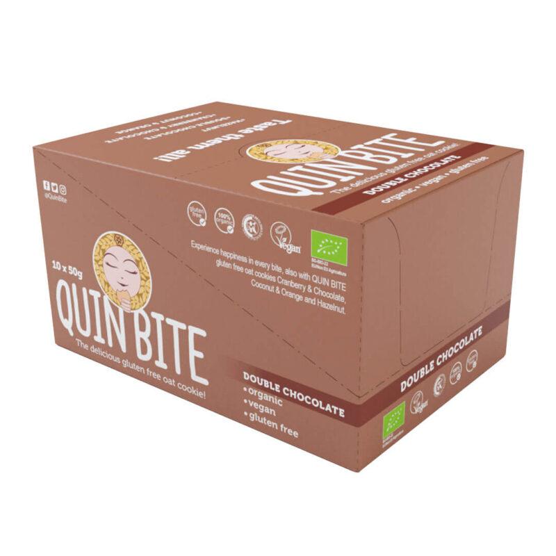 Кутия био безглутенови курабийки QUIN BITE Двоен шоколад 10 бр. по 50 г. (веган)