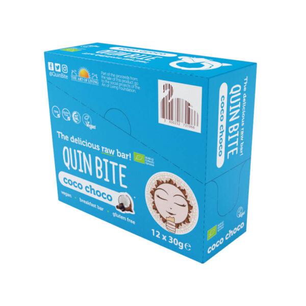 Кутия био сурово барче QUIN BITE Кокос и шоколад 12 бр. по 30 г.