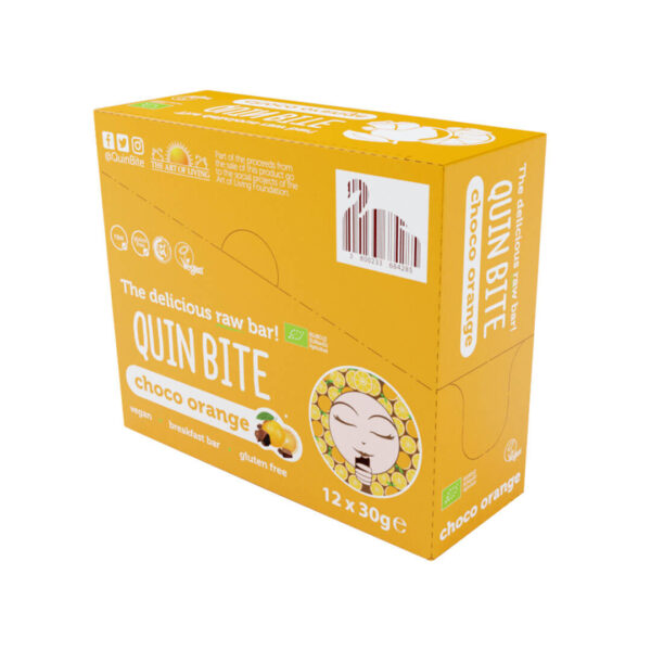 Кутия био сурово барче QUIN BITE Портокал и шоколад 12 бр. по 30 г.