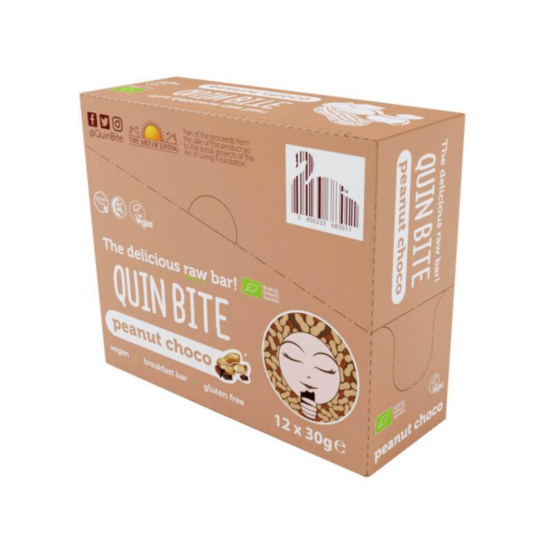 Кутия био сурово барче QUIN BITE Фъстък и шоколад 12 бр. по 30 г.