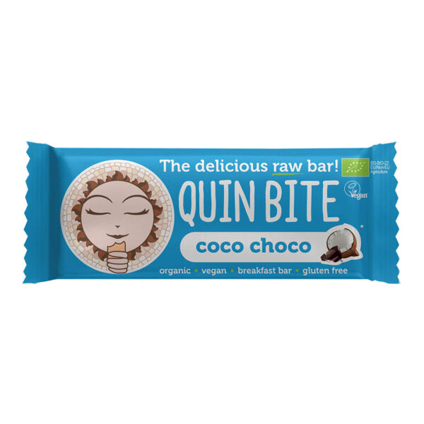 Био сурово барче QUIN BITE Кокос и шоколад  30 г.