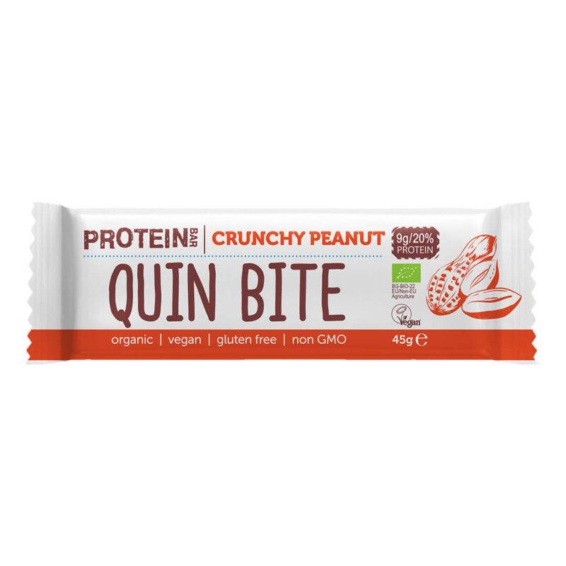 Био протеинов бар QUIN BITE Хрупкав фъстък  45 г.
